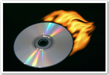 A DVD with flames