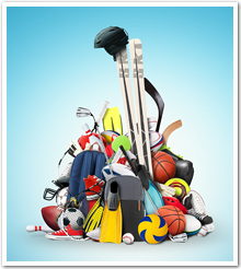 Various leisure and sports equipment in a pile.