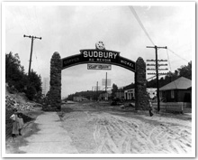 Gate at the eastern city limits of Sudbury. Sudbury Star Aug. 17, 1950