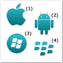 Logos for Apple, Android, Windows, and BlackBerry
