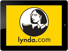 Lynda.com logo on a tablet.