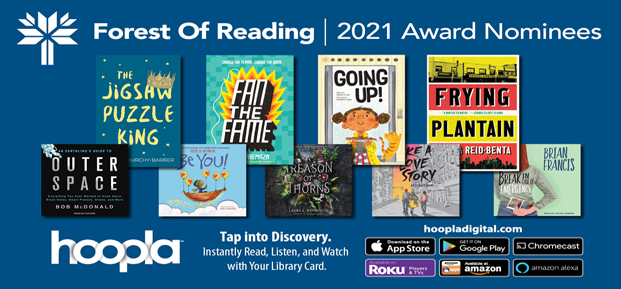 Forest of Reading titles on Hoopla