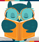 A turquoise owl reading a book.