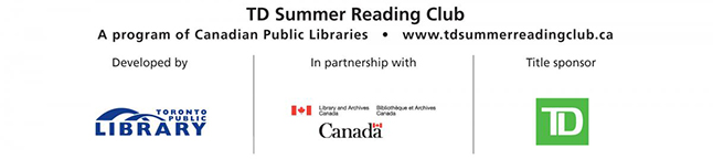 Logos of: Toronto Public Library, Library & Archives Canada, TD Bank.