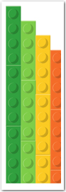 Four long lego pieces side by side : two green, one yellow, and one orange