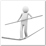 3D figure walking a tightrope.