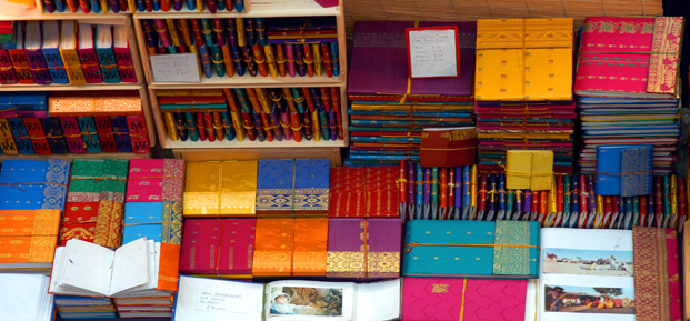 A variety of books in colourful packaging.