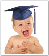 A happy baby wearing a cap and mortar board.